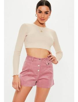 Blush Frill Ribbed Crew Neck Knitted Crop Top by Missguided