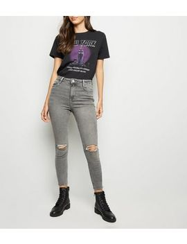 Grey Ripped High Waist Super Skinny Hallie Jeans by New Look