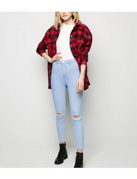 Bright Blue High Waist Super Skinny Ripped Hallie Jeans by New Look