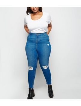 Curves Blue Ripped High Waist Super Skinny Jeans by New Look
