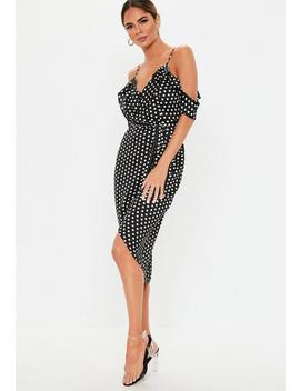 Petite Black Polka Dot Frill Wrap Satin Midi Dress by Missguided