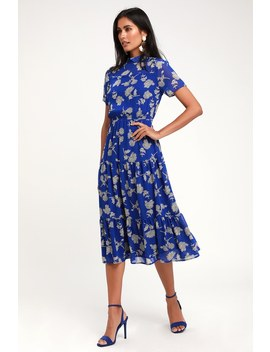 Floral Dressed Up Royal Blue Floral Print Midi Dress by Lulus