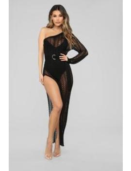 Knit With Love One Shoulder Maxi Dress   Black by Fashion Nova