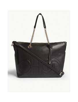 Allegra Logo Embossed Leather Tote by Jimmy Choo
