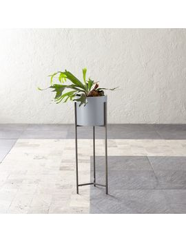 Dundee Light Grey Planter With Tall Stand by Crate&Barrel