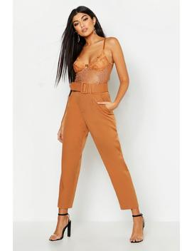 Belted Tailored Trouser by Boohoo