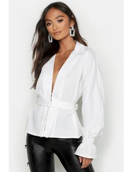 Petite Button Front Plunge Blouse by Boohoo