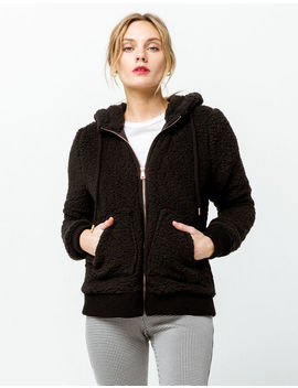 Ashley Cozy Zip Up Black Womens Hooded Jacket by Ashley