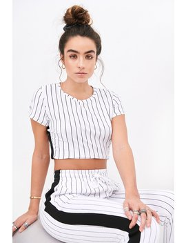 Sommer Ray Side Stripe Cropped T Shirt by Urban Planet