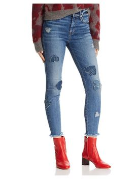 Heart Patched Ankle Skinny Jeans In Indigo Spring by 7 For All Mankind