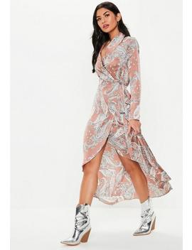 Nude Paisley Midi Satin Shirt Dress by Missguided