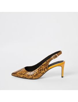 Yellow Snake Wide Fit Sling Back Court Shoes by River Island