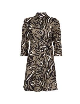Petite Khaki Animal Print Shirt Dress by Dorothy Perkins