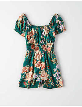Ae Puff Sleeve Floral Romper by American Eagle Outfitters