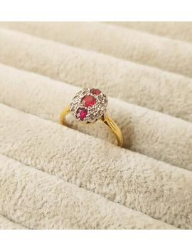 18ct Gold, Ruby And Diamond Art Deco Ring. Size O (Eu 56). Free Resizing. Antique Jewellery. by Etsy