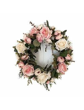 Adeeing 13 Inch Rose Wreath, Small, Pink by Adeeing