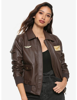Her Universe Marvel Captain Marvel Cosplay Girls Faux Leather Aviator Jacket by Hot Topic