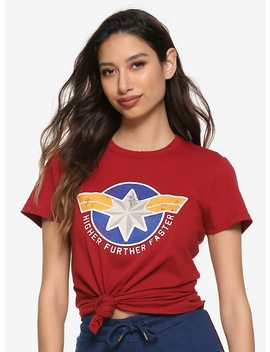 Her Universe Marvel Captain Marvel Distressed Cosplay Girls T Shirt by Hot Topic