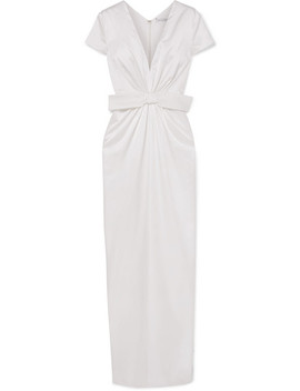 Beatrice Bow Embellished Ruched Silk Satin Gown by Emilia Wickstead