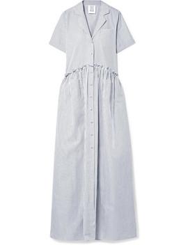 Ruffle Trimmed Striped Cotton Poplin Maxi Dress by Rosie Assoulin