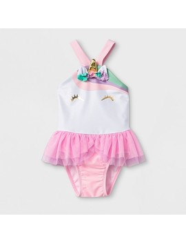 Baby Girls' One Piece Swimsuit With Bow   Cat & Jack™ Pink by Cat & Jack