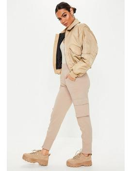 Stone Loopback Zip Front Joggers by Missguided