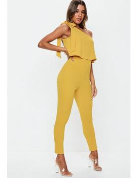 Mustard One Shoulder Bow Jumpsuit by Missguided