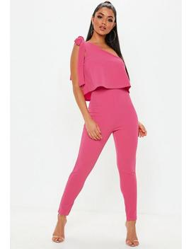 Pink One Shoulder Bow Skinny Jumpsuit by Missguided