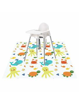 "Splat Mat For Under High Chair/Arts/Crafts, Wo Baby Reusable Waterproof Anti Slip Floor Splash Mat, Portable Play Mat And Table Cover (51"", Seaworld) by Wo Baby"