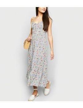 White Floral Lattice Frill Hem Maxi Dress by New Look