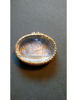 Vintage Collectible Pill Box Gold Painted(?) W/Pale Blue Etched Glass Picture by Ebay Seller