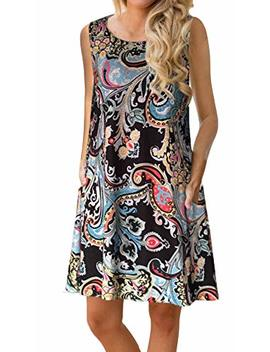 Etcyy Women's Summer Casual Sleeveless Floral Printed Swing Dress Sundress With Pockets by Etcyy