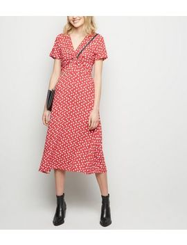 Red Floral Print Knot Front Midi Dress by New Look