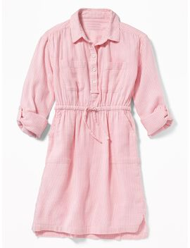 Striped Waist Defined Utility Shirt Dress For Girls by Old Navy