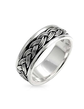 Bling Jewelry Men Sterling Silver Braided Band Ring by Bling Jewelry