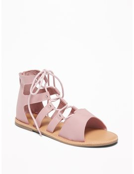 Faux Leather Lace Up Gladiator Sandals For Girls by Old Navy