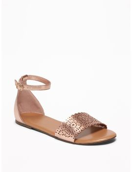 Perforated Faux Leather Sandals For Girls by Old Navy