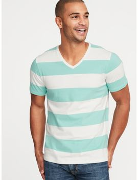 Soft Washed Perfect Fit Striped V Neck Tee For Men by Old Navy