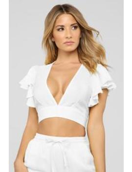 Innocent Side Linen Pant Set   White by Fashion Nova