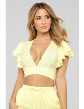 Innocent Side Linen Pant Set   Yellow by Fashion Nova