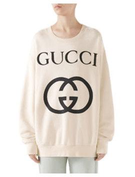 Heavy Felted Cotton Jersey Oversized Sweatshirt W/ Interlock Gg Print by Gucci