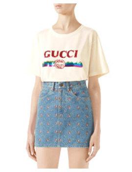 Embroidered High Waist Denim Mini Skirt by Gucci