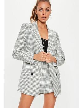 Grey Checked Co Ord Blazer by Missguided