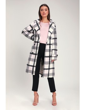 Fond Of You Black And White Plaid Coat by Lulus