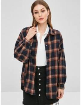 Snap Button Plaid Coat   Midnight Blue by Zaful