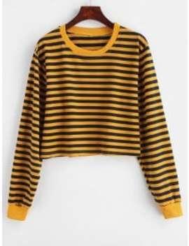 Striped Crop Drop Shoulder Sweatshirt   Bee Yellow L by Zaful