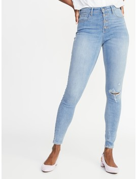 High Rise Secret Slim Pockets Distressed Rockstar Ankle Jeans For Women by Old Navy