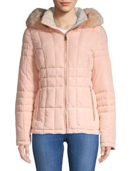 Quilted Faux Fur Hooded Jacket by Calvin Klein