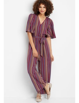Stripe Wrap Front Jumpsuit by Maurices