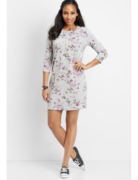 Floral 3/4 Sleeve T Shirt Dress by Maurices
